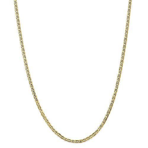 Solid 10k Yellow Gold 3mm Concave Anchor Mariner Chain Necklace 22