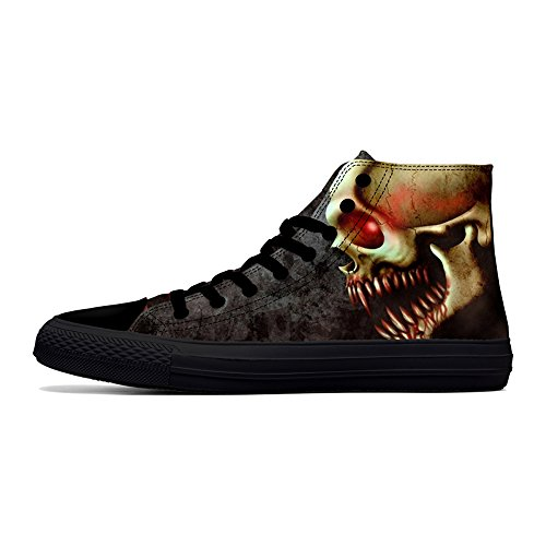 FIRST DANCE Skull Shoes for Men Fashion Sneaker High Top Skull Punk Rock Joker Print Shoes Black Shoes for Man Cool US10