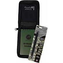 """All Weather Tactical 3""""x5"""" Notebook Kit Black Cover & Fisher Military Space Pen"""