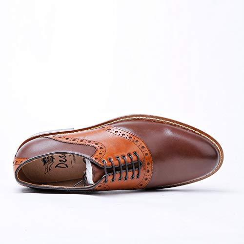 Brown Vestir Brown de Cuero Zapatos con Size Ocasionales 39 Hombres Color Zapatos Ruanyi Negocios de Cordones Oxford de genuinos EU Marrones Casuales 1qxASv4p