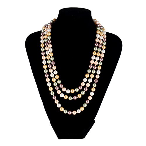 5 Wholesale Necklace Earring (LEILE Hand Knotted Glass Imitation Pearls Necklace Bead diameter 8mm (5 Colors Mixed 02 59in))