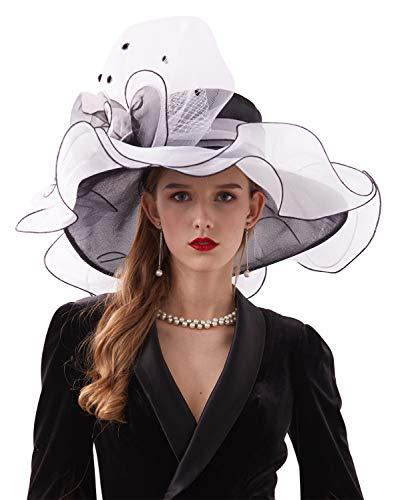 Z&X Women's Organza Church Kentucky Derby Hat Fancy Floral Bridal Wedding Fascinator Hat Black and White]()