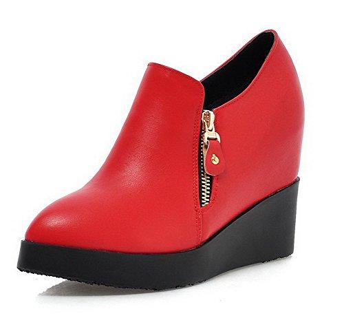 AllhqFashion Damen PU Leder Rein Reißverschluss Spitz Zehe Hoher Absatz Pumps Schuhe Rot
