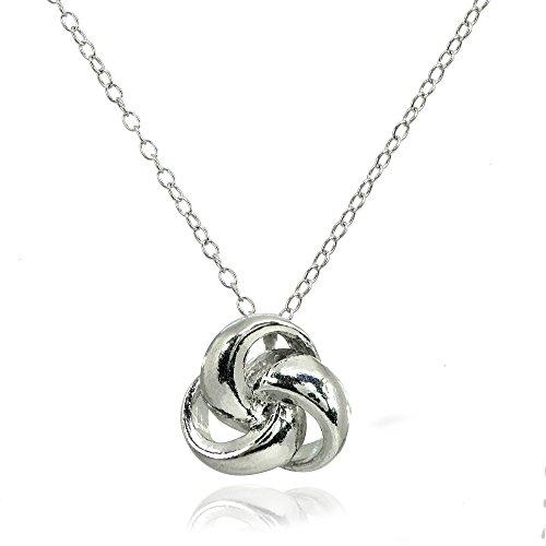 LOVVE Sterling Silver Polished Love Knot Ball Slide Pendant Necklace