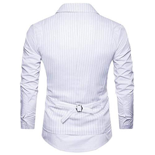 Giacca Office Senza Gilet Bianca Bolawoo Striped Lavoro Risvolto Maniche Elegante Slim Fit Blazer Cappotto Business Giacche Uomo Di Marca Da Mode OOwYBgU
