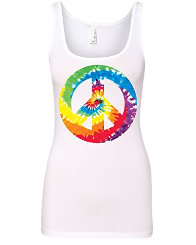 Peace Symbol Womens Tank Top - Tie Dye Peace Symbol 80's Women's Tank Top Hippie Happiness Love not War Top White XL