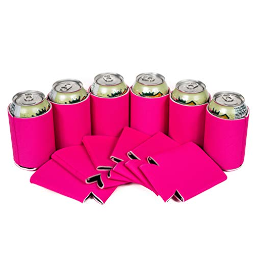 QualityPerfection - Hot Pink Beer Blank Can Cooler Sleeves - Blank Beer,Soda Coolies Sleeves   Soft,Insulated Coolers   30 Colors   Perfect For DIY Projects,Holidays,Events (25, Hot Pink)