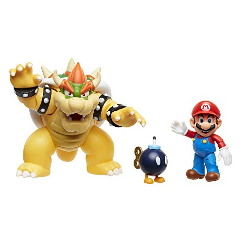 World of Nintendo New 2018 Mario Vs. Bowser Diorama Gift Set-3 Figure Pack Action