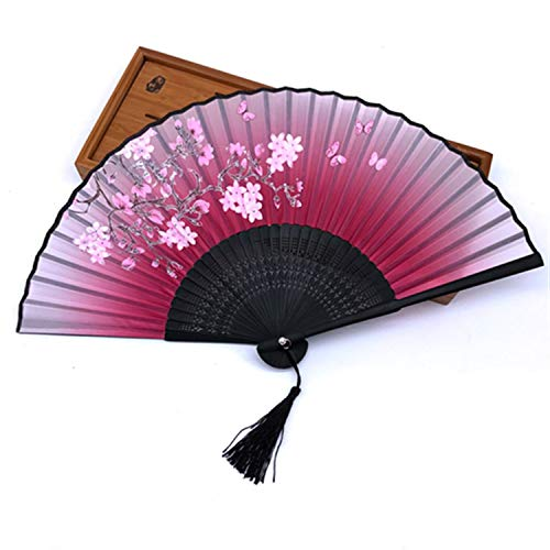 SMARTH 1pcs 100% Bamboo Folding Silk Hand Fan Flower Wedding Favor Fan Home Decoration Accessories Gifts for Women Girls - Kit Scroll Fan Accessories