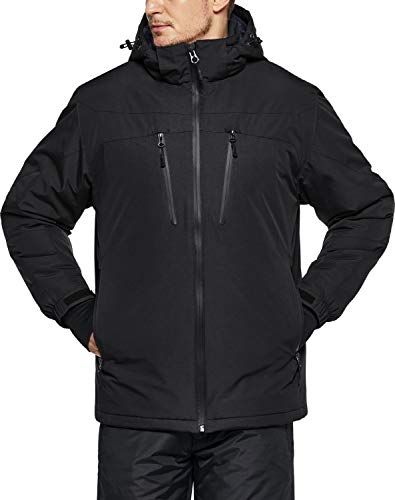 TSLA Men's Winter Ski Jacket, Waterproof Warm Insulated Snow Coats, Cold Weather Windproof Snowboard Jacket with Hood