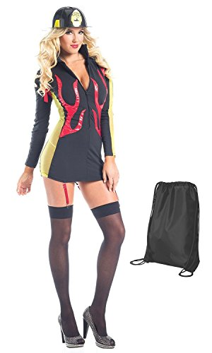Be Wicked Women's Midnight Sparks Costume with Fire Hat and Stockings, L/XL