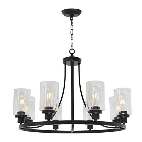 MELUCEE Black Chandelier 8 Lights, Kitchen Island Lighting Industrial Chandelier with Clear Glass Shade, Farmhouse Pendant Light for Dining Room Living Room Bedroom (Pendant Light Glass Chandelier)