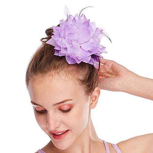 MiDee Noble Neon Colors Feather Hair Accessories for Stage Dance Performance Wedding (Lilac) ()