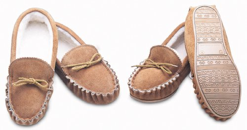 Men's Sheepskin Moccasin Style Slippers (UK Size 16, Natural (Soft Sole))