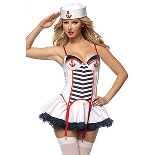Sexy Sailor / Captain Costume / Outfit ★ Navy Fancy Dress Women Voyage Outfit (Sexy Striped Sailor Costume)