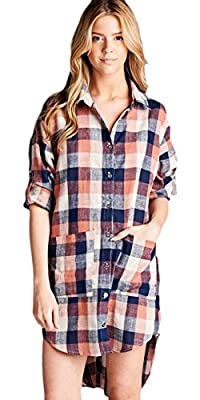 Marilyn & Main Women's Plaid High Low Button Down Shirt Dress