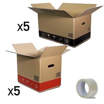 Pack pequeñas mudanzas Cajas de cartón de dos ondulaciones: 5 cajas de cartón 600x400x350 mm. + 5 cajas 400x300x350 mm. + 1 cinta adhesiva: Amazon.es: Hogar
