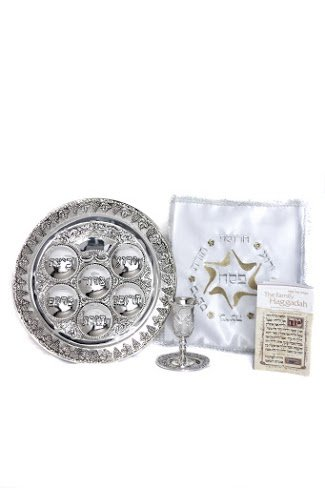 The Complete Passover Seder In One Box: Includes -Matching Seder Plate & Kiddush Cup - Matzoh Cover - Haggadah