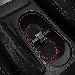 CupHolderHero for Subaru Forester 2014-2018 Custom Liner Accessories - Premium Cup Holder, Console, and Door Pocket Inserts 17-pc Set (Red Trim)