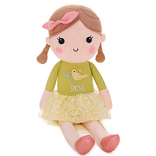 Gloveleya Spring Girl Wear Green Dress Baby Stuffed Cloth Dolls Kids Plush Toys (Personalized Toddler Dress)