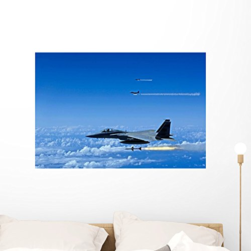 F-15 Eagle Aircraft Fire Wall Mural by Wallmonkeys Peel and Stick Graphic (36 in W x 24 in H) ()