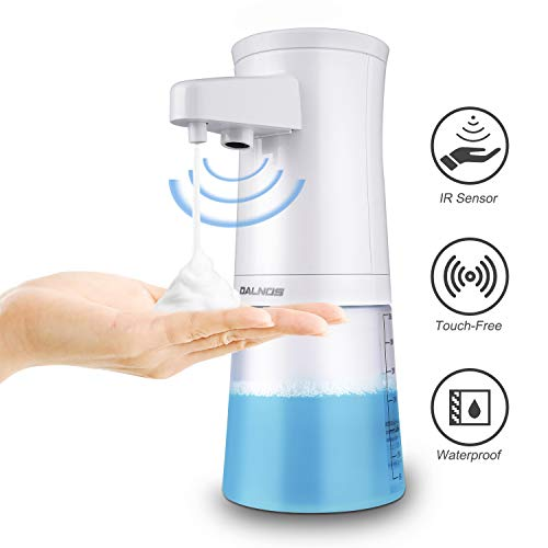 DALNOS Automatic Foaming Soap Dispenser Upgraded 350ML Touchless Soap Dispenser with Infrared Motion Sensor, Dish Liquid Hands-Free, Battery Operated & Waterproof for Kitchen and Bathroom(White)