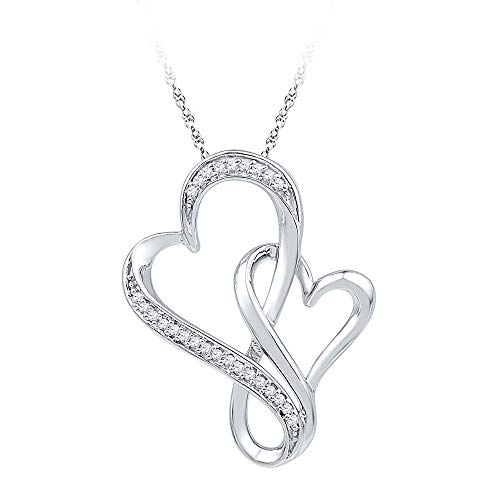 - 10kt White Gold Womens Round Diamond Double Entwined Heart Pendant 1/10 Cttw