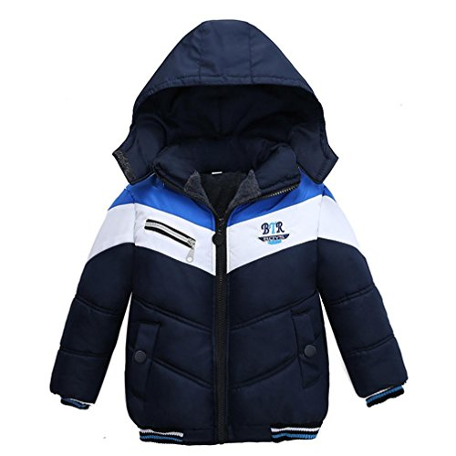 Sunbona Toddler Baby Boys Autumn Winter Down Jacket Coat Warm Padded Thick Outerwear Clothes (3T(18~24months), Navy) ()