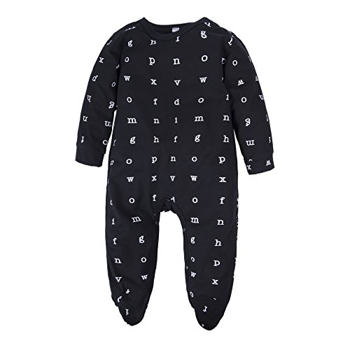 (BIG ELEPHANT Baby Boys'1 Piece Long Sleeve Letters Print Romper Jumpsuit Black Q27-70 3-6 Months)