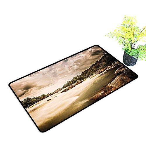 Diycon Interior Door mat Nature Saturated Nature Photo of Cloudy Storm Sky and Rocky River Image W16 xL20 Easy to Clean Carpet Eggshell Caramel Olive Green