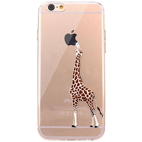 iPhone 6 Plus Case, JAHOLAN Amusing Whimsical Design Clear Bumper TPU Soft Case Rubber Silicone Skin Cover for iPhone 6 Plus, iPhone 6S Plus - Eating Giraffe