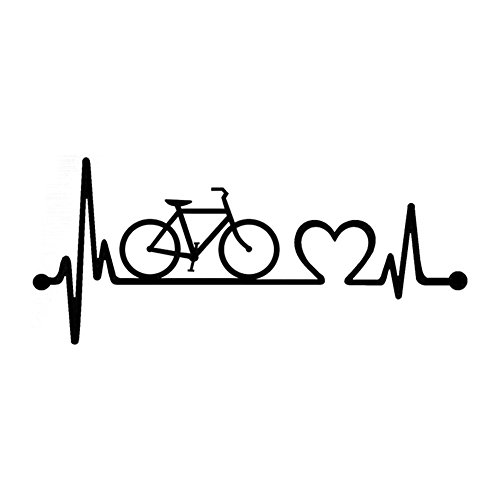 Aland Waterproof Bicycle Heartbeat Lifeline Car Stickers Window Bumper Vehicle Decal Bicycle Heartbeat Lifeline Bicycle Fashion Sticker Black