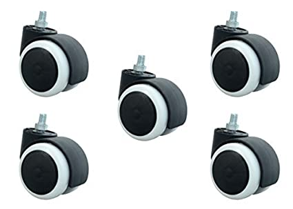higadget Nylon ABS Threaded Twin Castor Wheels, Black and White -Set of 5