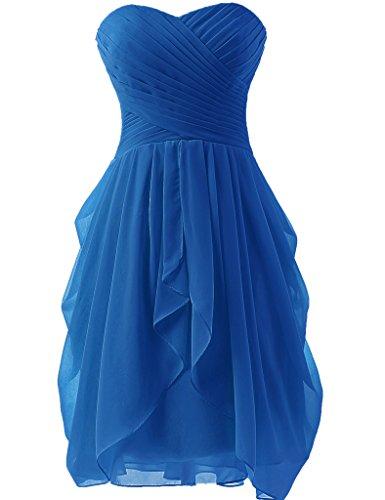 JAEDEN Sin tirantes Vestidos de dama de honor Corto Gasa Vestido de fiesta Vestido de coctail Azul
