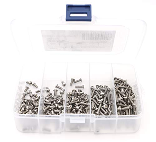 iExcell 250 Pcs M3 x 6mm/8mm/10mm/12mm/16mm Stainless Steel 304 Hex Socket Button Head Cap Screws Kit