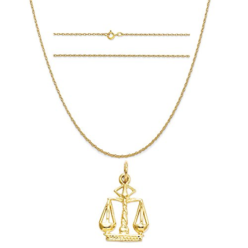 14k Yellow Gold Scales Of Justice Charm on a 14K Yellow Gold Carded Rope Chain Necklace, 20