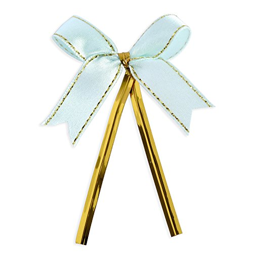 Ribbon Bows with Twist Ties (100 Pieces) - Medium Size: 2 Inches - Made of High Quality Satin Ribbon - Great for Bakery Bag, Cello Bag, Lollipop and Wedding Favor (Light Turquoise Blue and Gold)