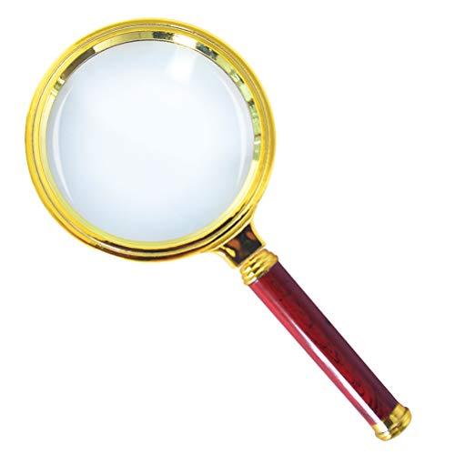 Antique Toys Stamps - Donzy 10X Magnification Handheld Magnifier - Magnifying Glass for Reading, Coins, Insects, Magnifier for Kids and Old People with Removable Antique Mahogany Handle