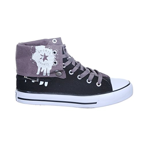 Nuovo Stile!! Sneakers Alte Da Donna Top In Canvas Nero Best Seller Black / Greyv2