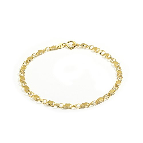10 Inch 10k Yellow Gold Heart Bracelet and Anklet for Women and Girls, (0.14'') by SL Bracelet Collection