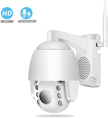 Pan Tilt Outdoor Security Camera, 5MP Home WiFi IP Camera 25601920 , Pan Tilt Dome Surveillance Cam, Two Way Audio Motion Detection 196ft Night Vision Onvif Waterproof CCTV Camera Max 128G SD