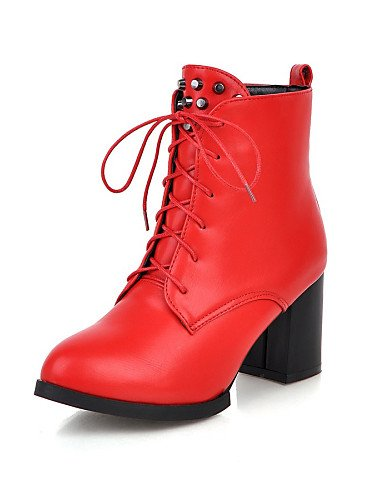 Botas Xzz 5 Cn38 Puntiagudos Rojo Vestido Uk4 Uk Red Robusto Eu37 De Trabajo Semicuero Red Casual Punta 7 negro Cerrada Zapatos us7 5 5 us6 Eu38 Oficina Tacón Cn37 Uk5 5 Y Mujer 5 X8xBgw8qra