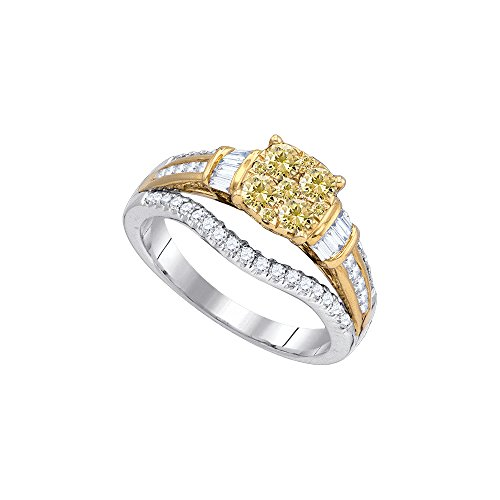 Jewels By Lux 14K Gold Two Tone Baguette Enhanced Canary Diamond Wedding Engagement Ring 1 CT (I1 clarity; G-H color) Canary Diamond Wedding Rings