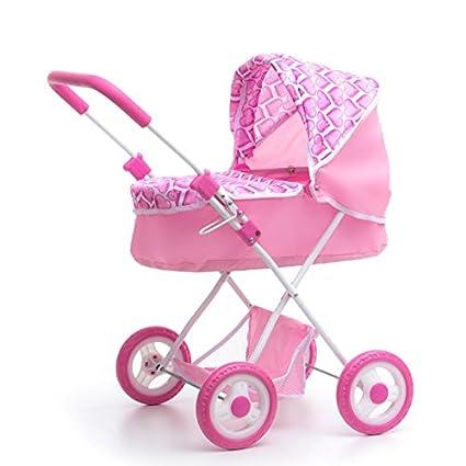 ColorBaby - Carrito de paseo infantil con capota, color rosa con corazones (43102)