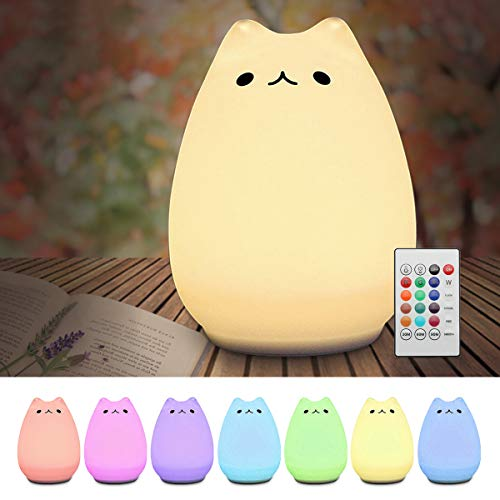 Children Night Light,Elfeland LED Cute Silicone Cat Lamp Remote Control 12+1 Colors/6 Lighting Modes/USB Rechargeable/Timing Off for Kids Bedside Bedroom Nursery Birthday Gift Valentine Present