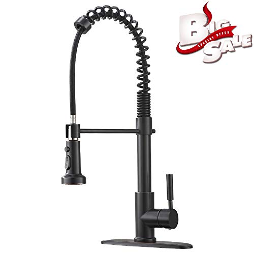Bokaiya Single Handle Farmhouse Spring Pull Down Sprayer Oil Rubbed Bronze Kitchen Faucet, Kitchen Sink Faucet with Deck Plate ()