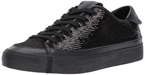 A|X Armani Exchange Women's Sequined Low Top Sneaker, Nero, 5 M - Tops Exchange Armani Womens