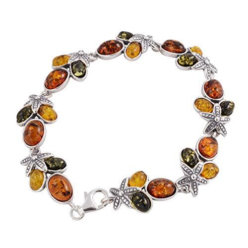 Reef Coral Bracelet - HolidayGiftShops Sterling Silver Multi-Colored Baltic Amber Bracelet Coral Reef