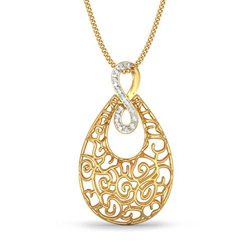 Or jaune 18K 0,07ct tw Round-cut-diamond (IJ   SI) Pendentif