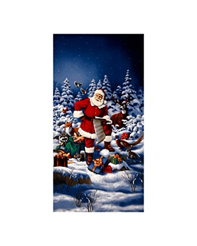 (RJR Fashion Fabrics Good Tidings Jolly St. Nick 24 in. Panel Blue Fabric,)